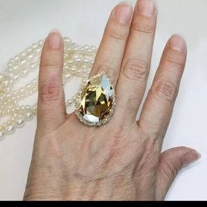 New huge champagne crystal zircon stone gold  ring